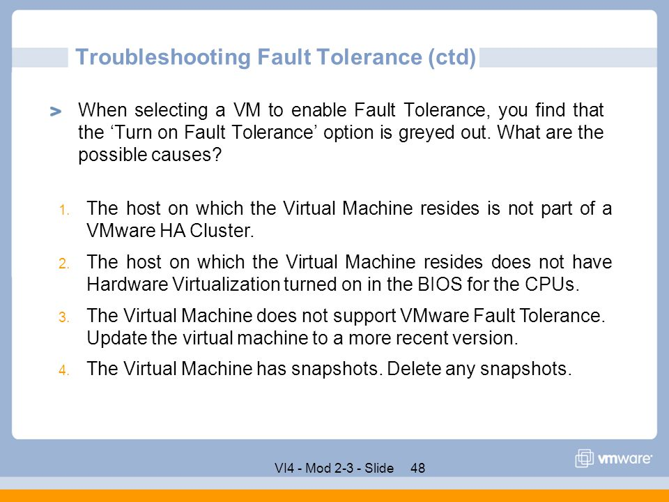 Troubleshooting Fault Tolerance (ctd)