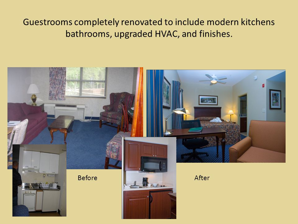 Guestrooms completely renovated to include modern kitchens bathrooms, upgraded HVAC, and finishes.