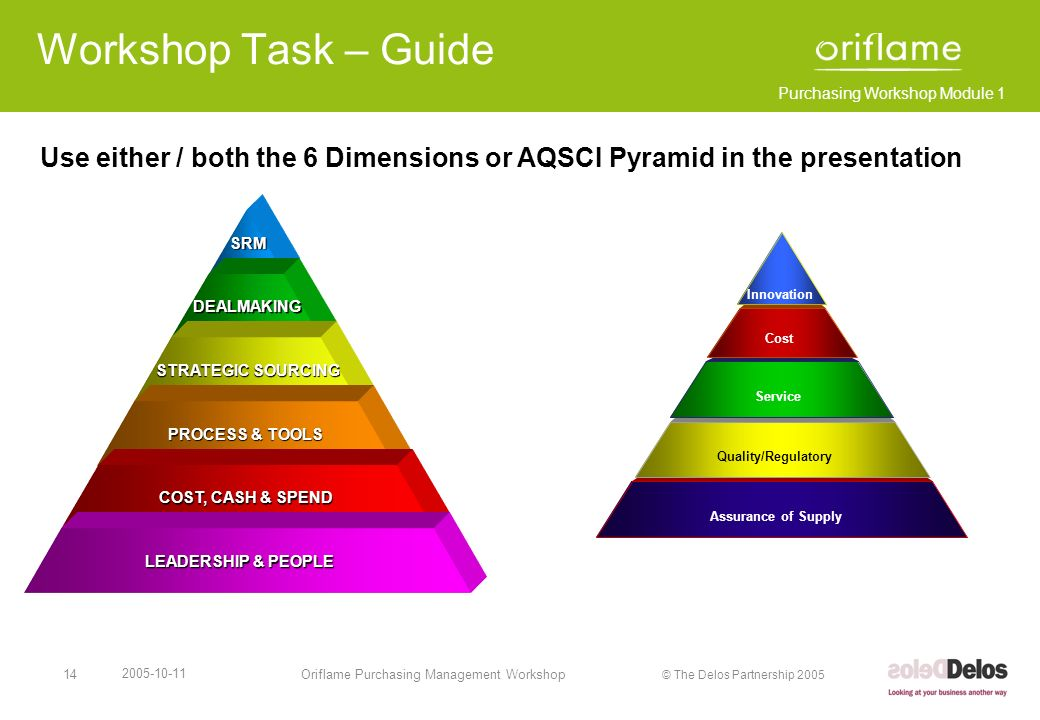 Workshop Task – Guide Use either / both the 6 Dimensions or AQSCI Pyramid in the presentation. SRM.
