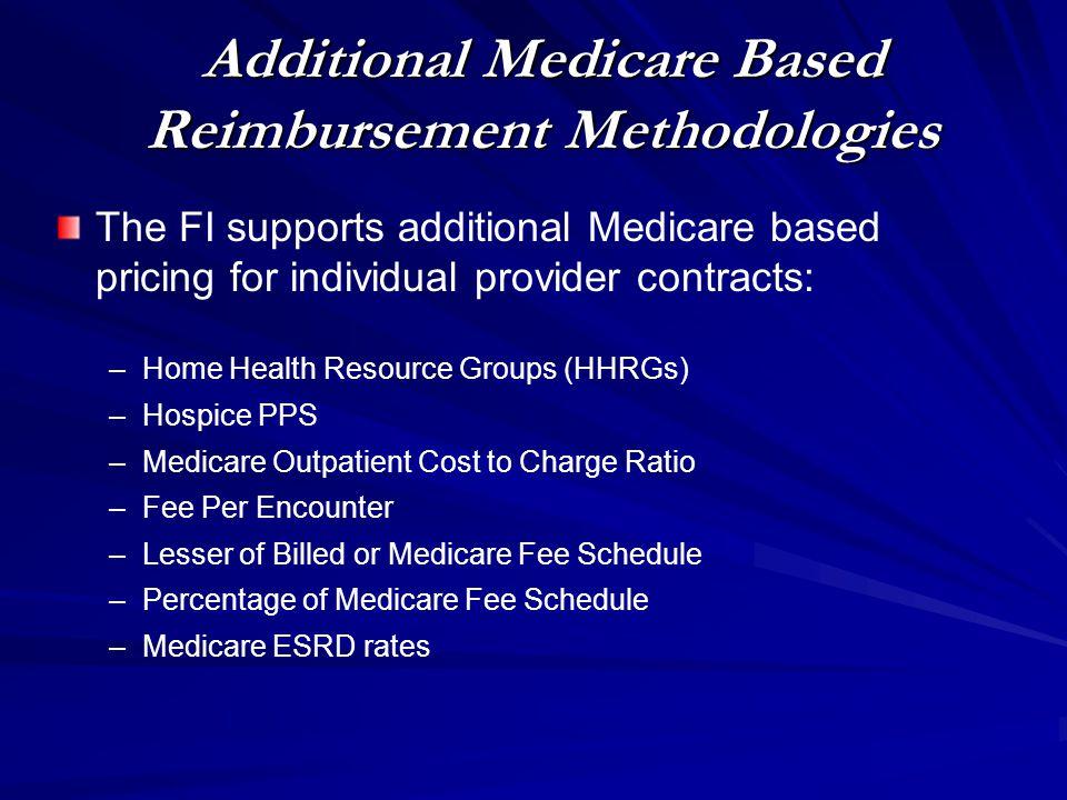 Additional Medicare Based Reimbursement Methodologies