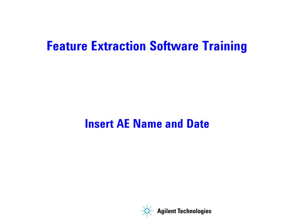Feature Extraction Software Training