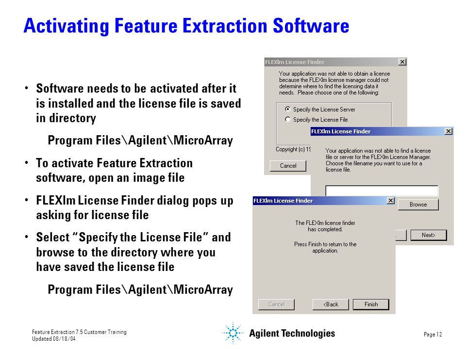 Activating Feature Extraction Software