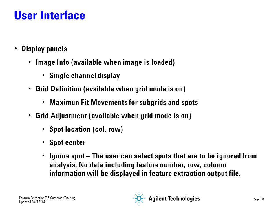 User Interface Display panels