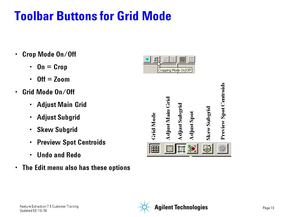 Toolbar Buttons for Grid Mode