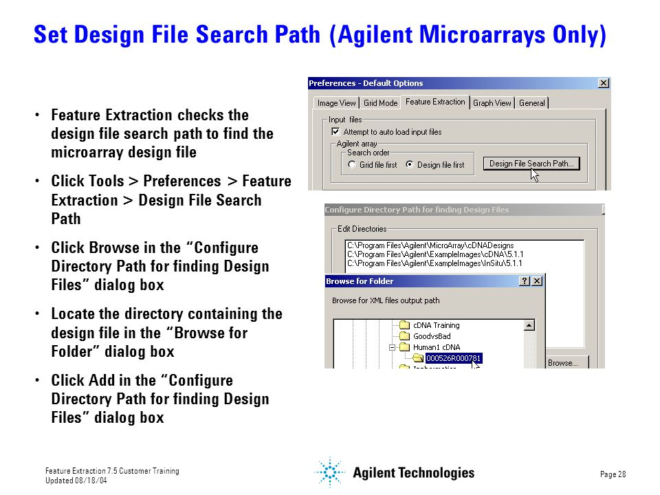 Set Design File Search Path (Agilent Microarrays Only)