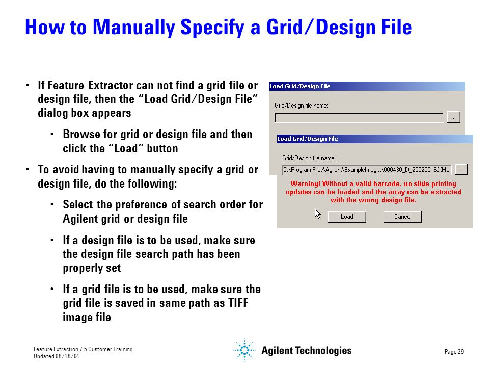 How to Manually Specify a Grid/Design File