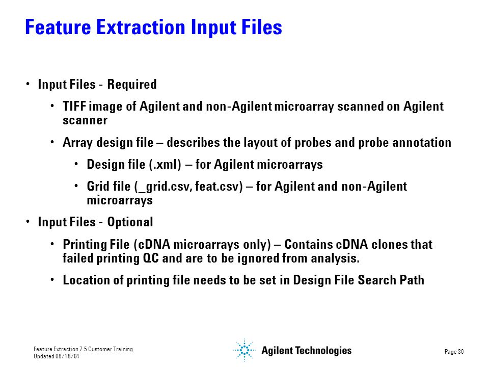 Feature Extraction Input Files