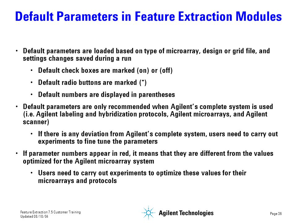 Default Parameters in Feature Extraction Modules