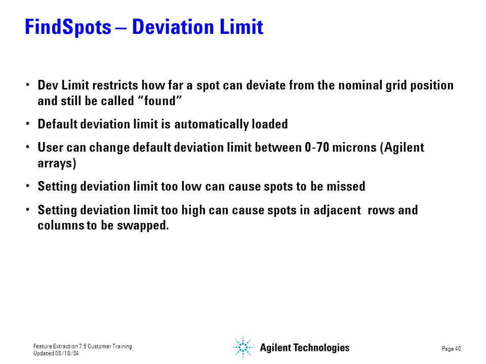 FindSpots – Deviation Limit