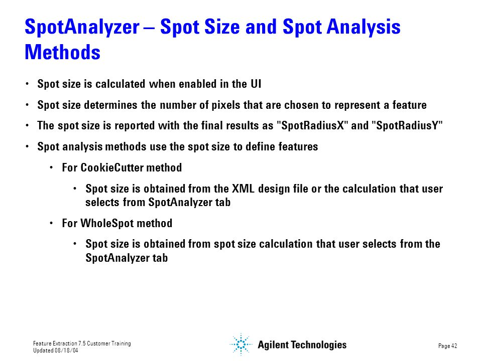 SpotAnalyzer – Spot Size and Spot Analysis Methods