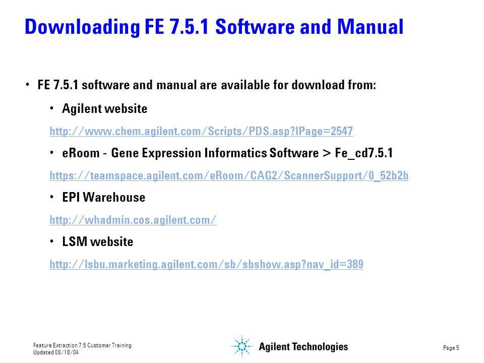 Downloading FE 7.5.1 Software and Manual