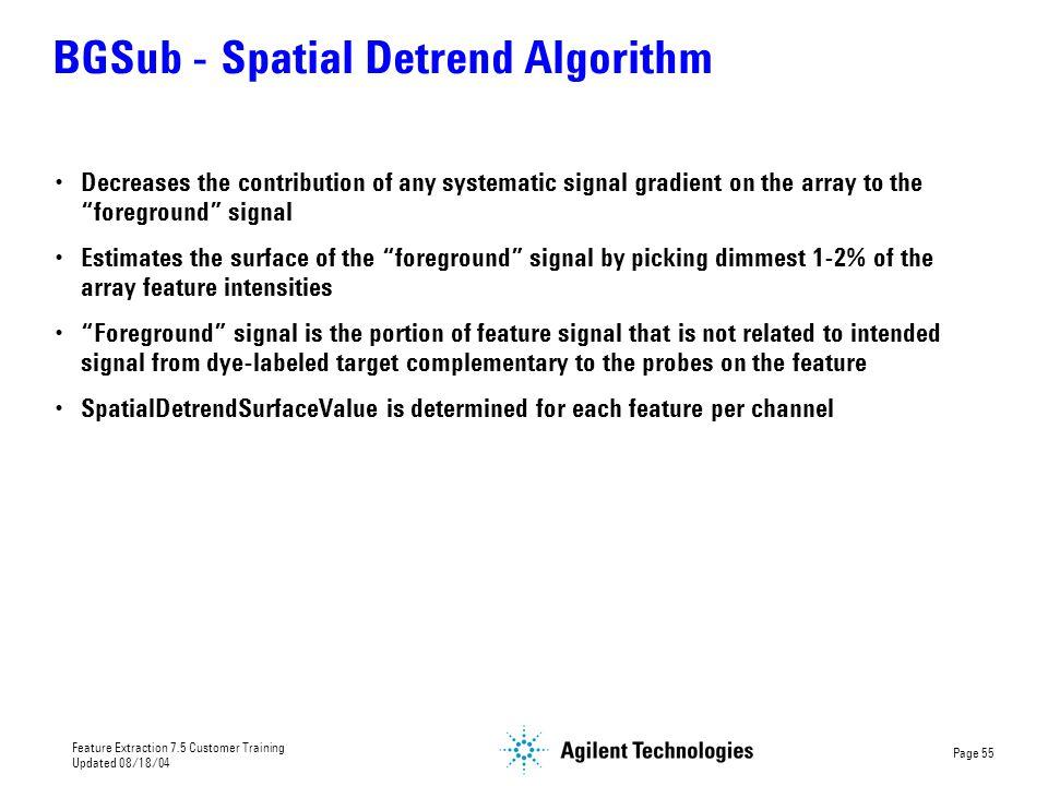 BGSub - Spatial Detrend Algorithm