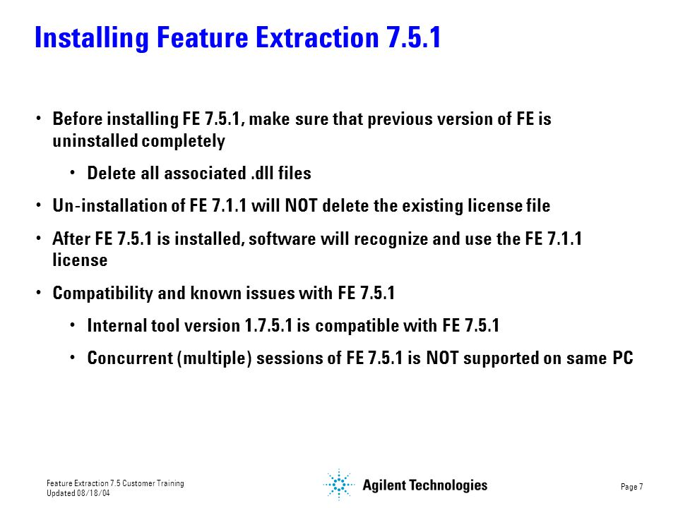 Installing Feature Extraction 7.5.1
