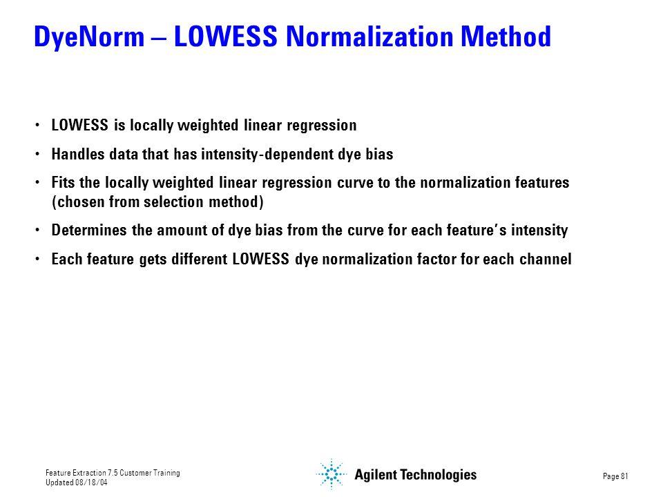 DyeNorm – LOWESS Normalization Method
