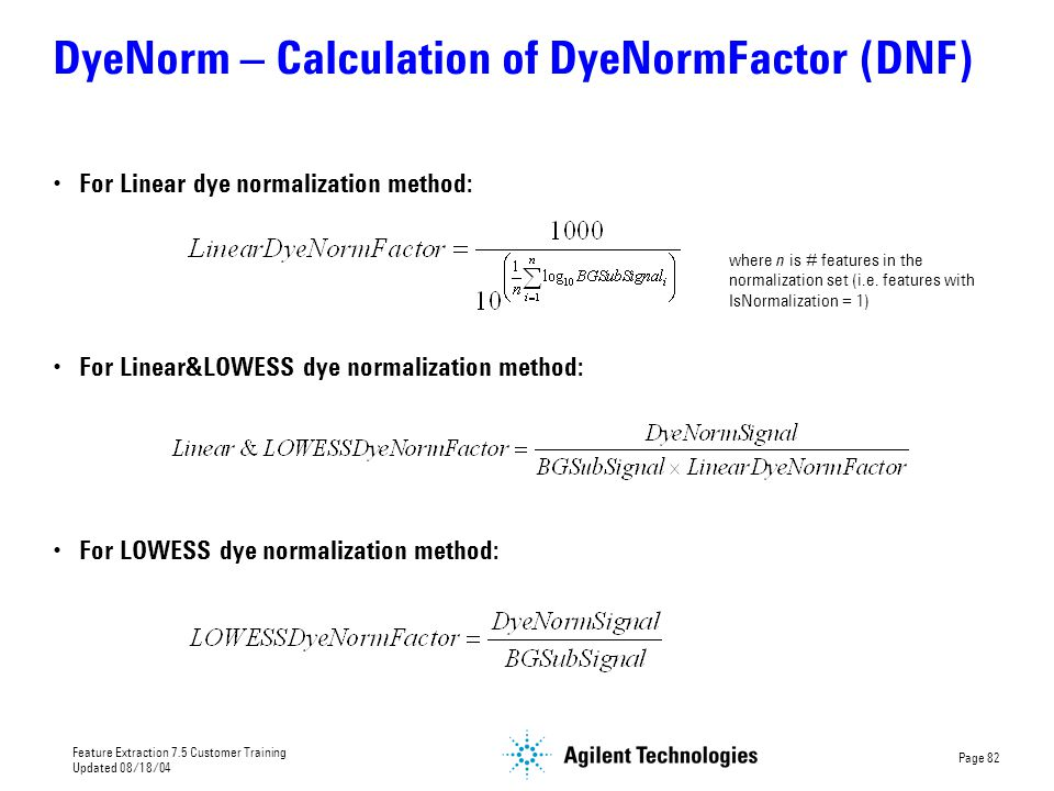 DyeNorm – Calculation of DyeNormFactor (DNF)