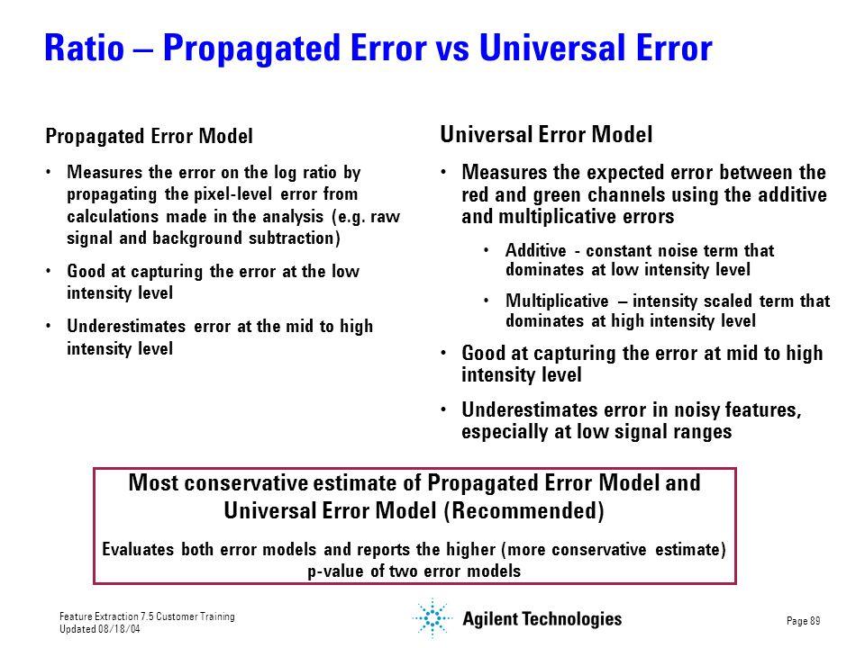 Ratio – Propagated Error vs Universal Error