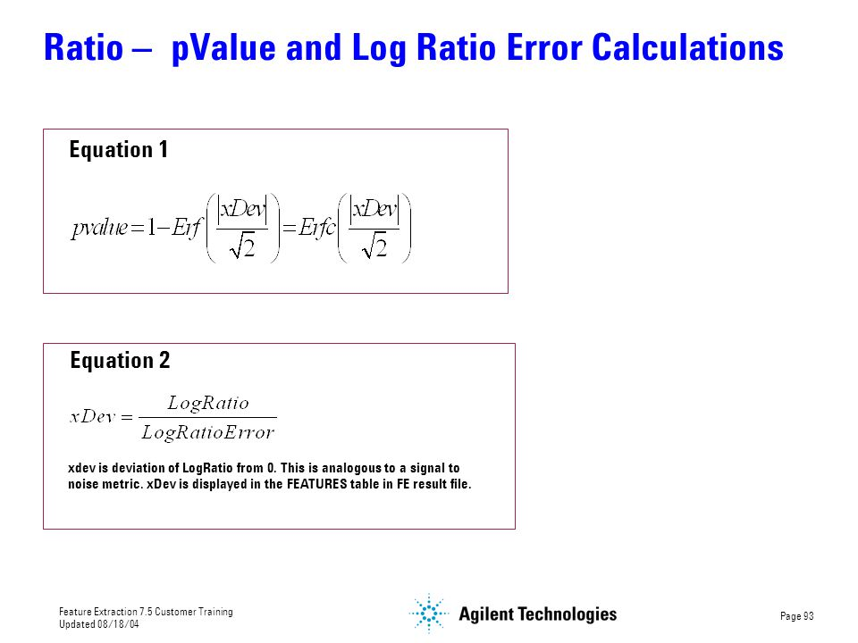 Ratio – pValue and Log Ratio Error Calculations