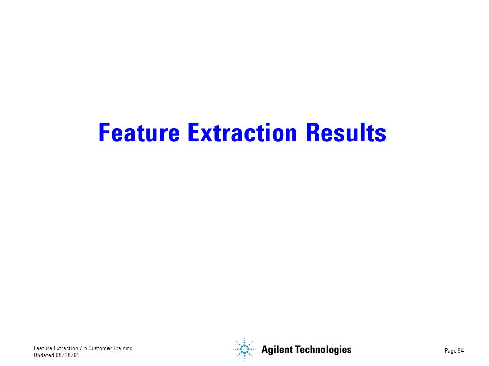 Feature Extraction Results