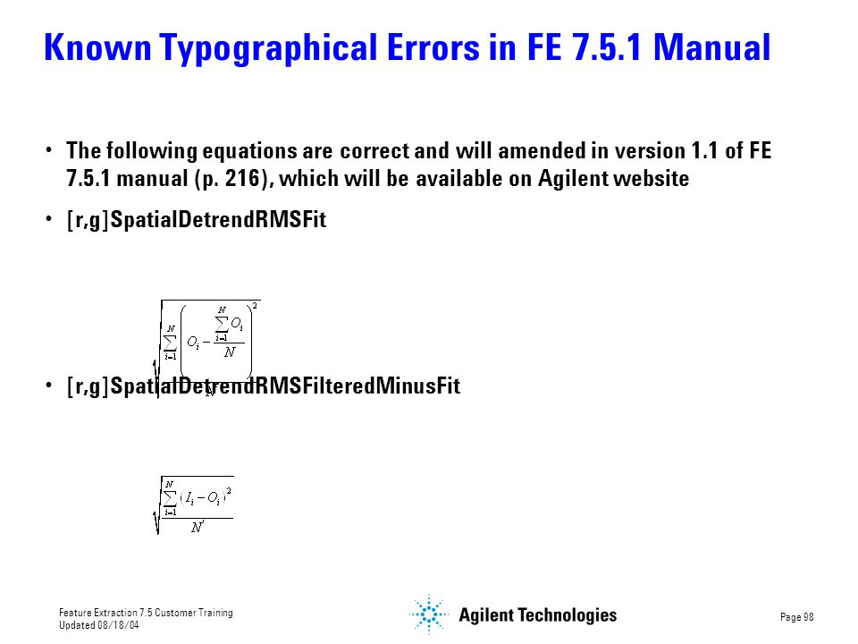 Known Typographical Errors in FE 7.5.1 Manual