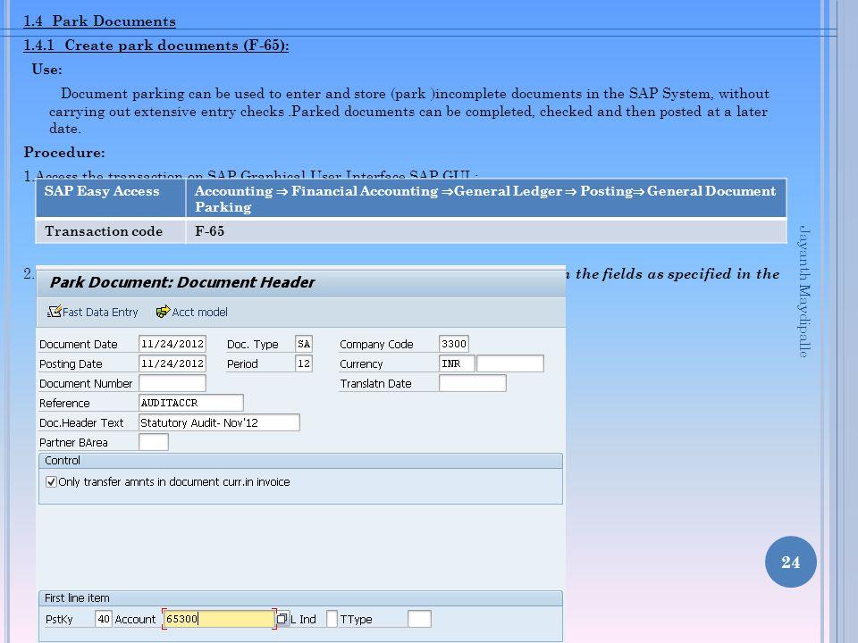 1.4.1 Create park documents (F-65): Use: