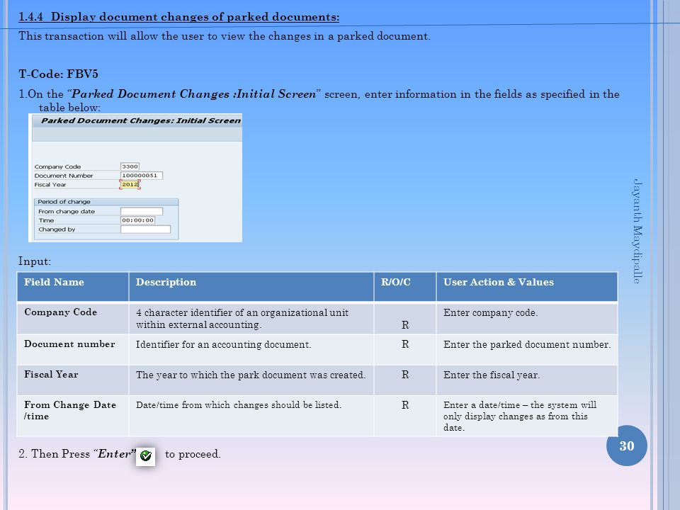 1.4.4 Display document changes of parked documents: