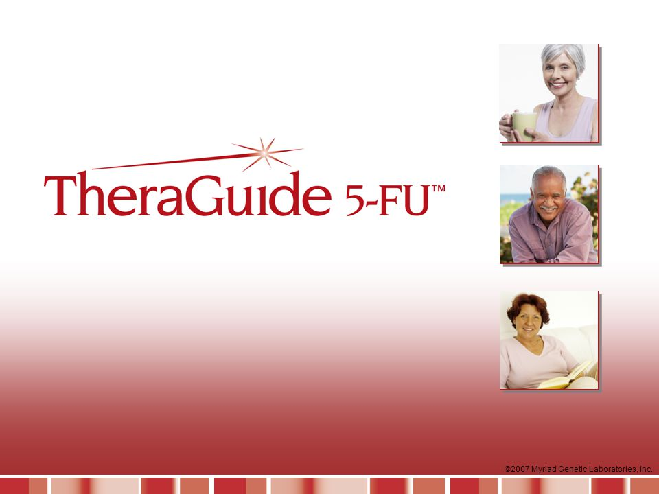 This slide set is designed for educational presentations about TheraGuide 5-FUTM to audiences of healthcare professionals. It contains slides, supplemental (optional) slides and suggested speaker's notes. These materials are provided as an educational service by Myriad Genetic Laboratories, Inc. of Salt Lake City, Utah.