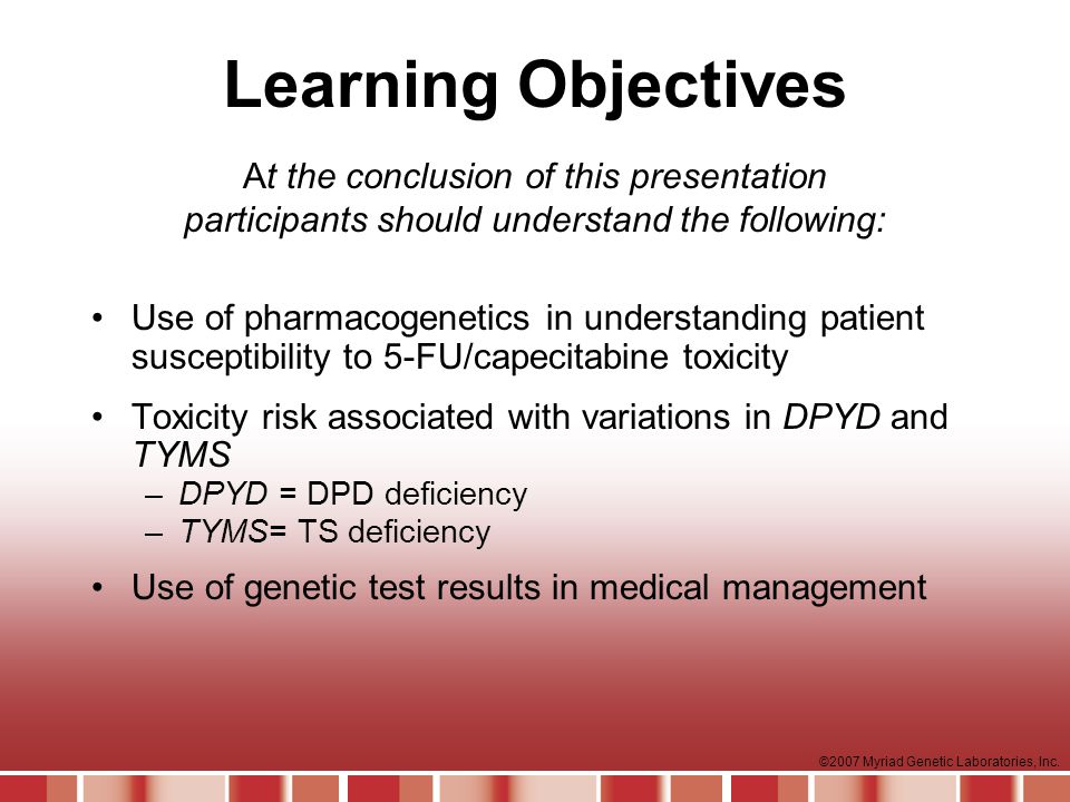 Learning Objectives At the conclusion of this presentation participants should understand the following: