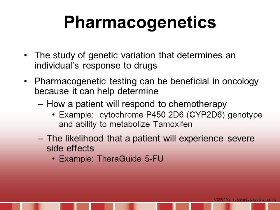 Pharmacogenetics The study of genetic variation that determines an individual's response to drugs.