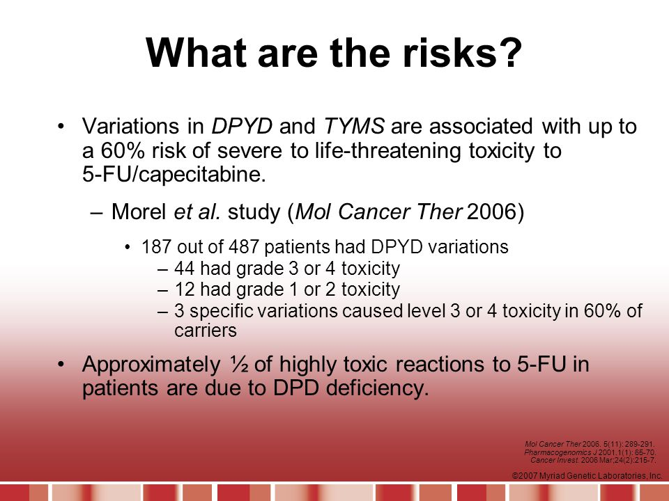What are the risks Variations in DPYD and TYMS are associated with up to a 60% risk of severe to life-threatening toxicity to 5-FU/capecitabine.
