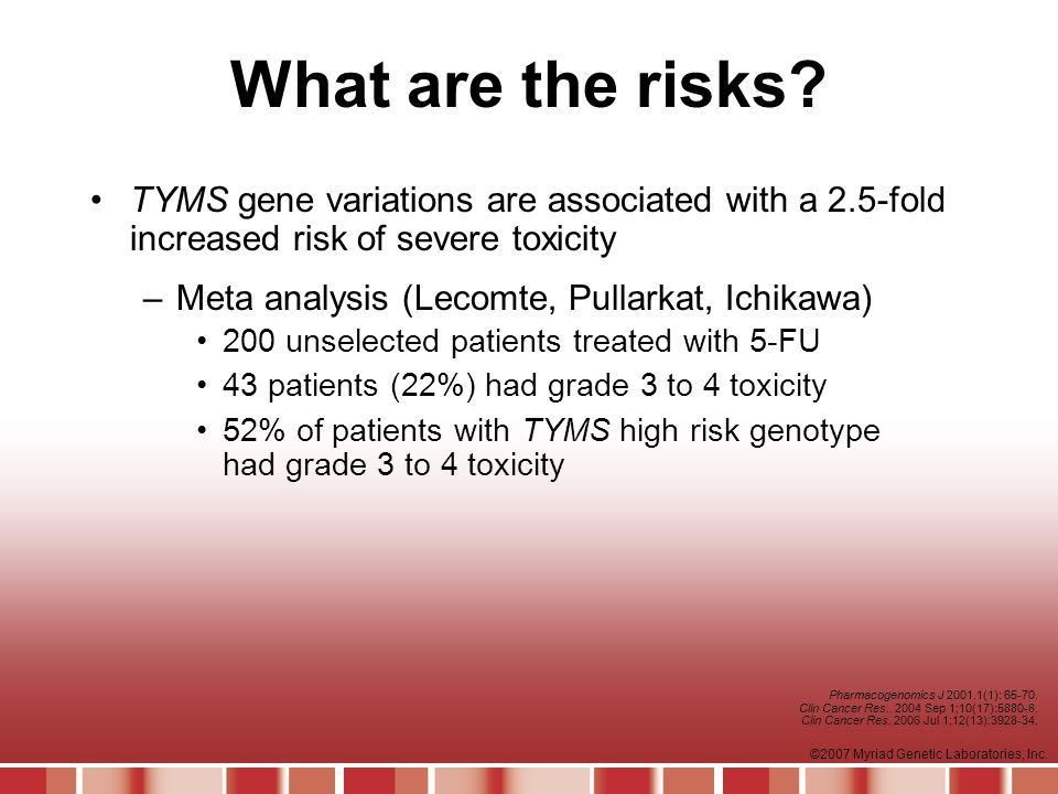 What are the risks TYMS gene variations are associated with a 2.5-fold increased risk of severe toxicity.
