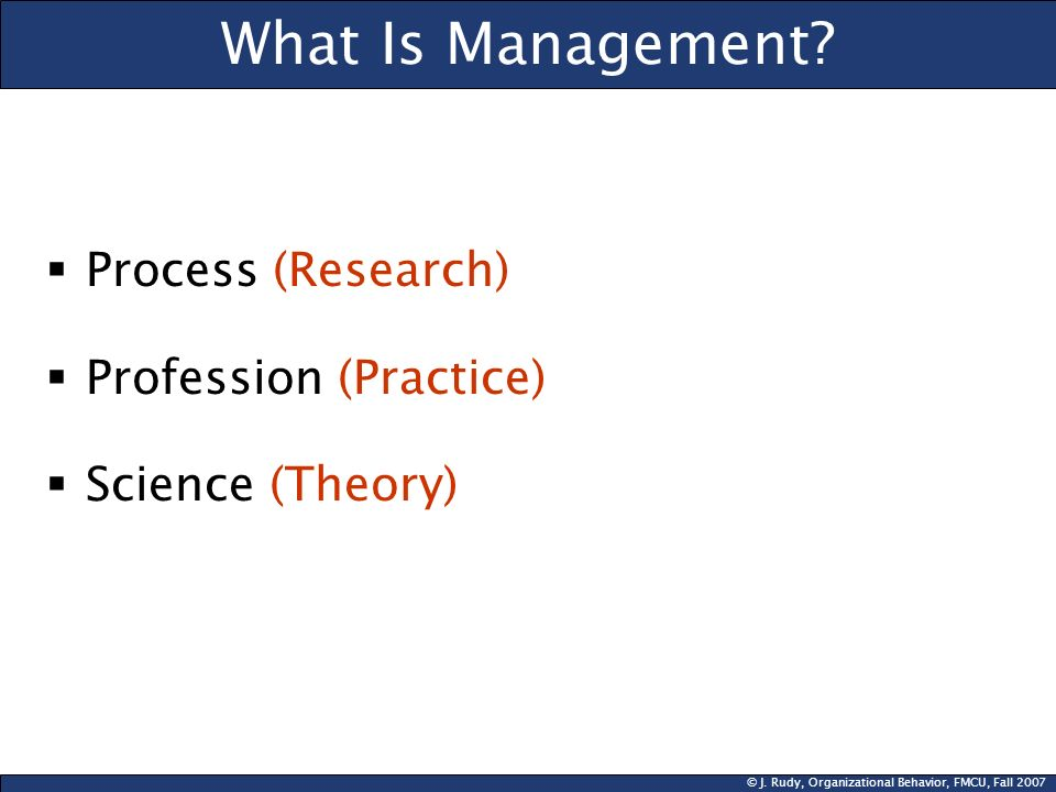 What Is Management Process (Research) Profession (Practice)