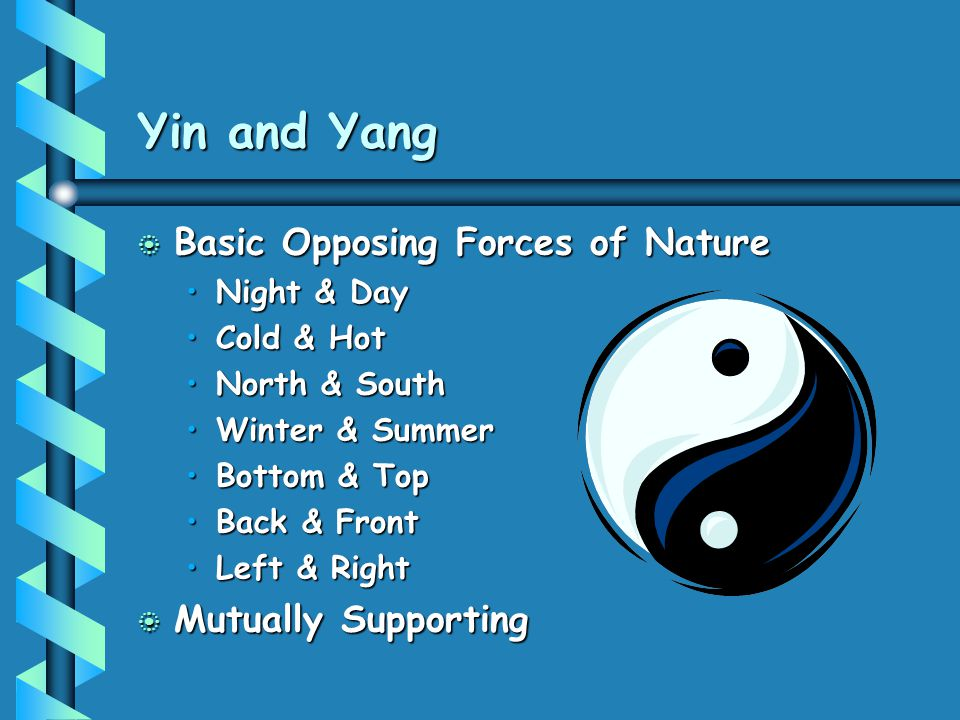 Yin and Yang Basic Opposing Forces of Nature Mutually Supporting