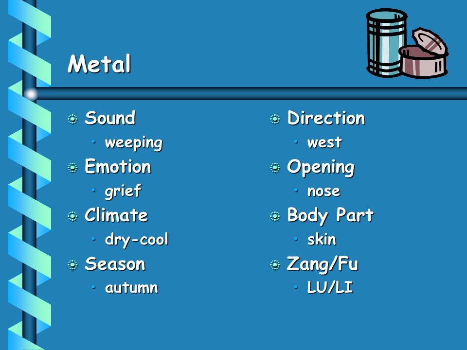 Metal Sound Emotion Climate Season Direction Opening Body Part Zang/Fu