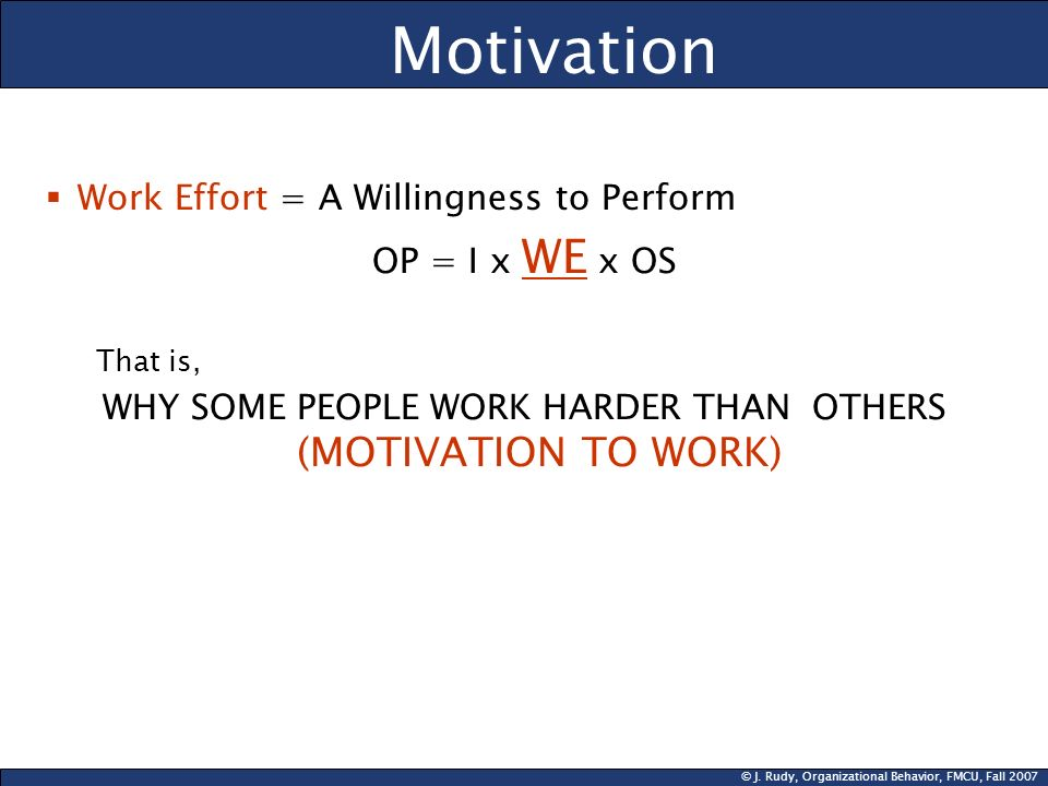 WHY SOME PEOPLE WORK HARDER THAN OTHERS (MOTIVATION TO WORK)