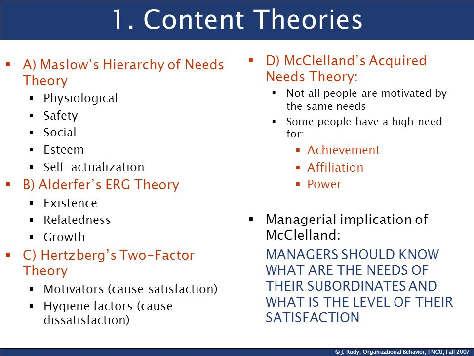 1. Content Theories D) McClelland's Acquired Needs Theory: