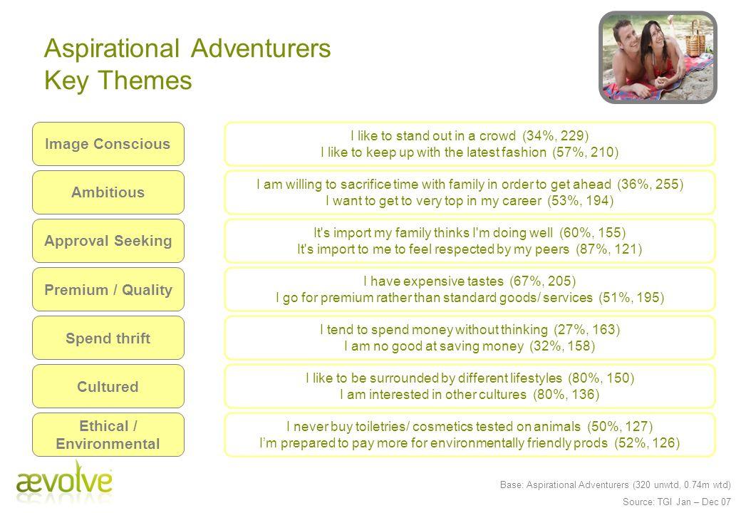 Aspirational Adventurers Key Themes