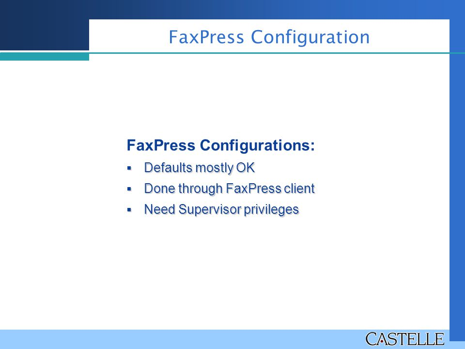 FaxPress Configuration