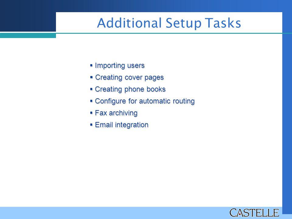 Additional Setup Tasks