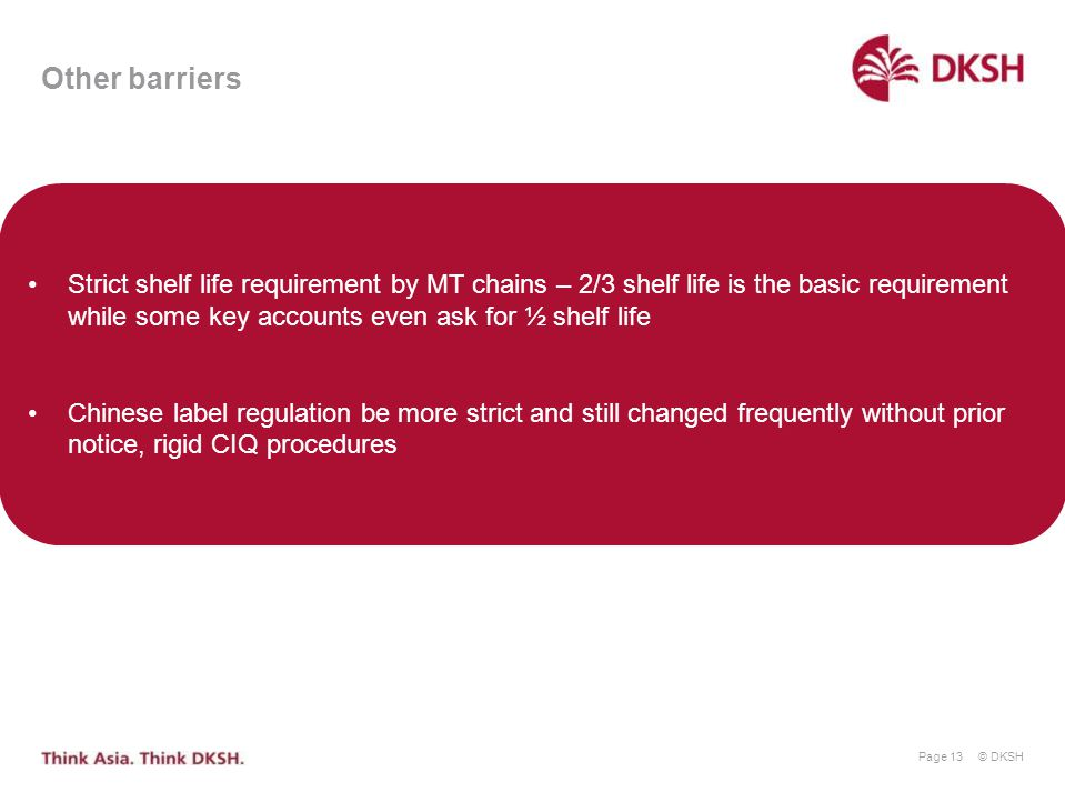 Other barriers Strict shelf life requirement by MT chains – 2/3 shelf life is the basic requirement while some key accounts even ask for ½ shelf life.