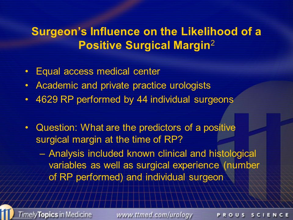Surgeon's Influence on the Likelihood of a Positive Surgical Margin2