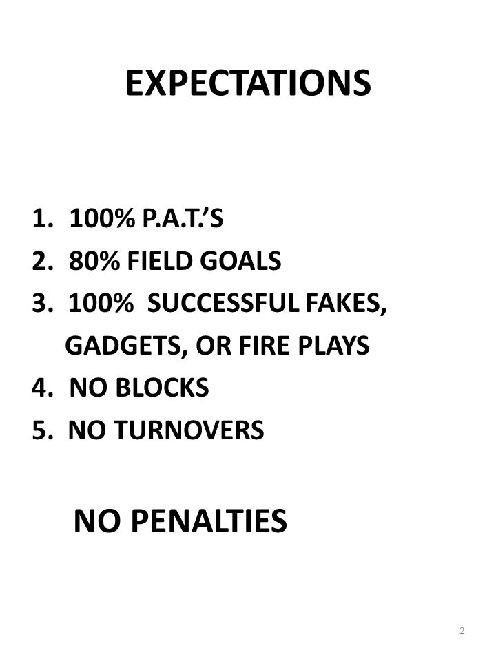 EXPECTATIONS NO PENALTIES 100% P.A.T.'S 2. 80% FIELD GOALS
