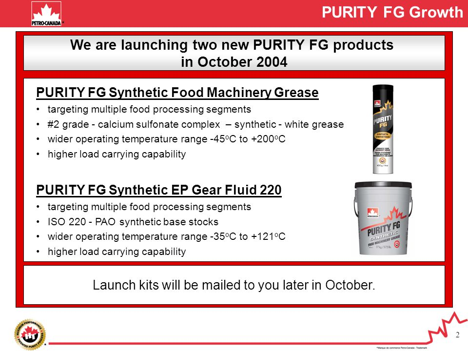 We are launching two new PURITY FG products
