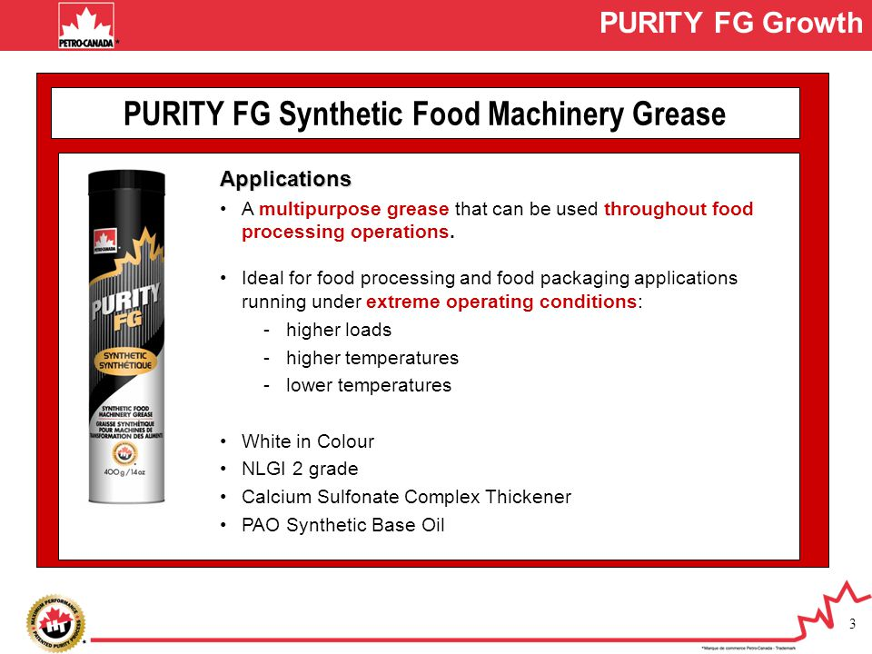 PURITY FG Synthetic Food Machinery Grease
