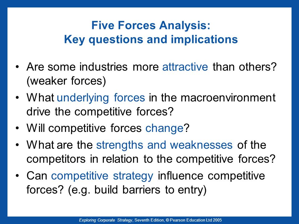 Five Forces Analysis: Key questions and implications