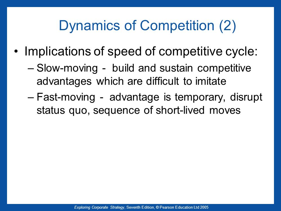 Dynamics of Competition (2)