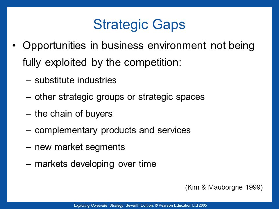 Strategic Gaps Opportunities in business environment not being fully exploited by the competition: substitute industries.
