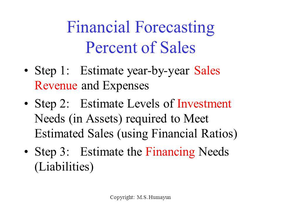 Financial Forecasting Percent of Sales