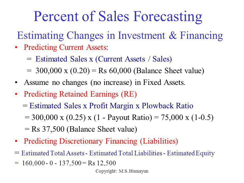 Percent of Sales Forecasting Estimating Changes in Investment & Financing