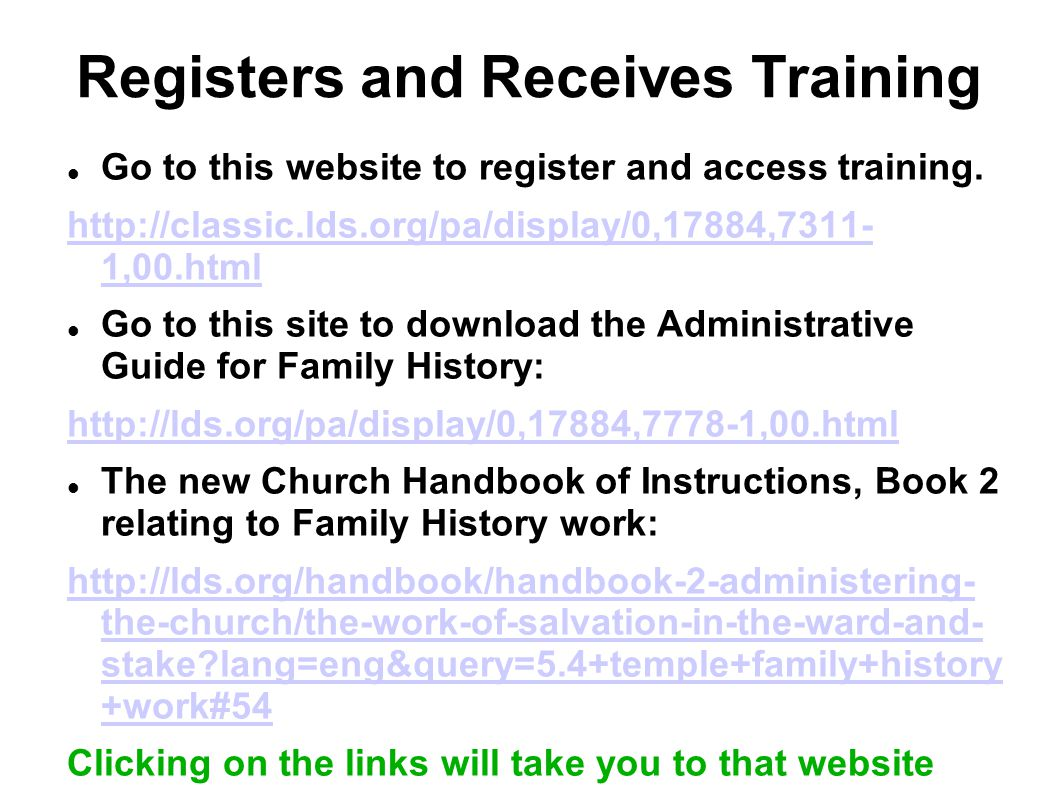 Registers and Receives Training