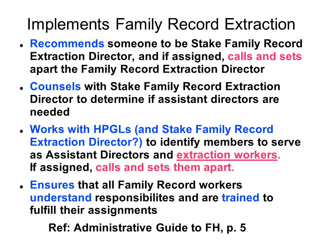 Implements Family Record Extraction